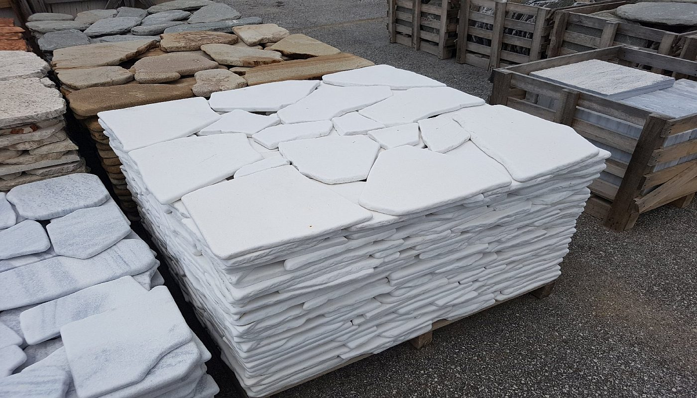 Polygonalplatten Thasos Antik - Weiß