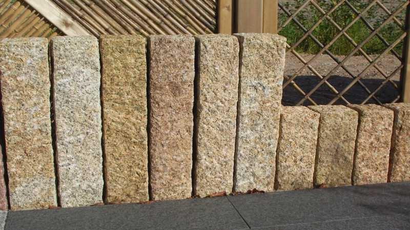 palisaden granit gelb 100x12x12 cm